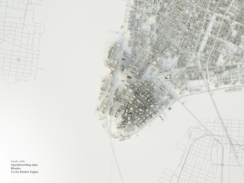 Dettaglio della planimetria del modello 3D di Manhattan