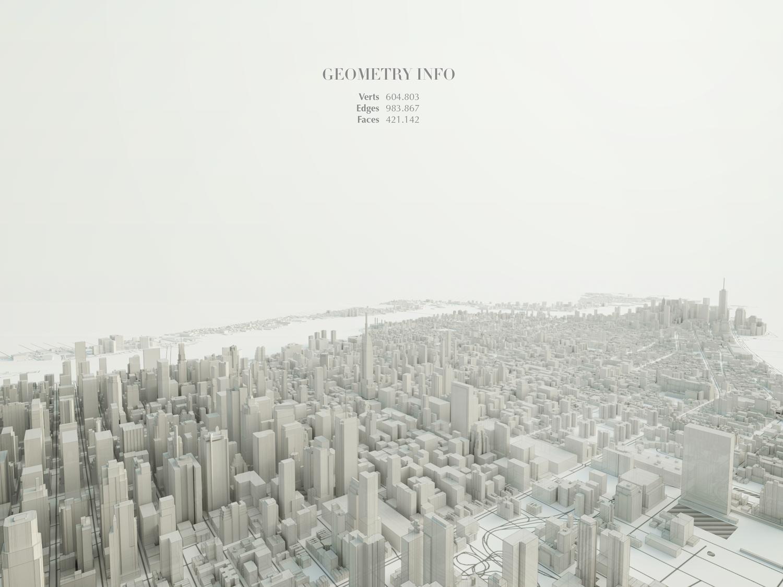 Visualizzazione wireframe del modello 3d di Manhattan