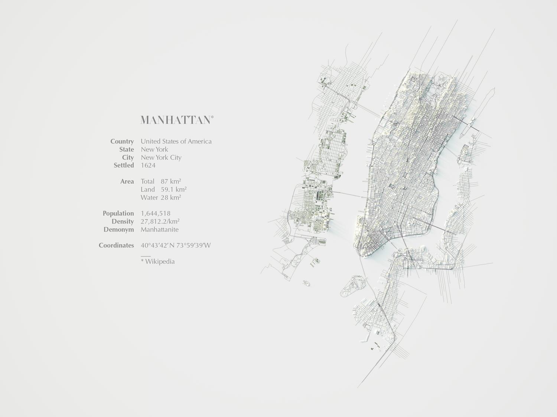 Planimetria del modello 3d e informazioni su Manhattan