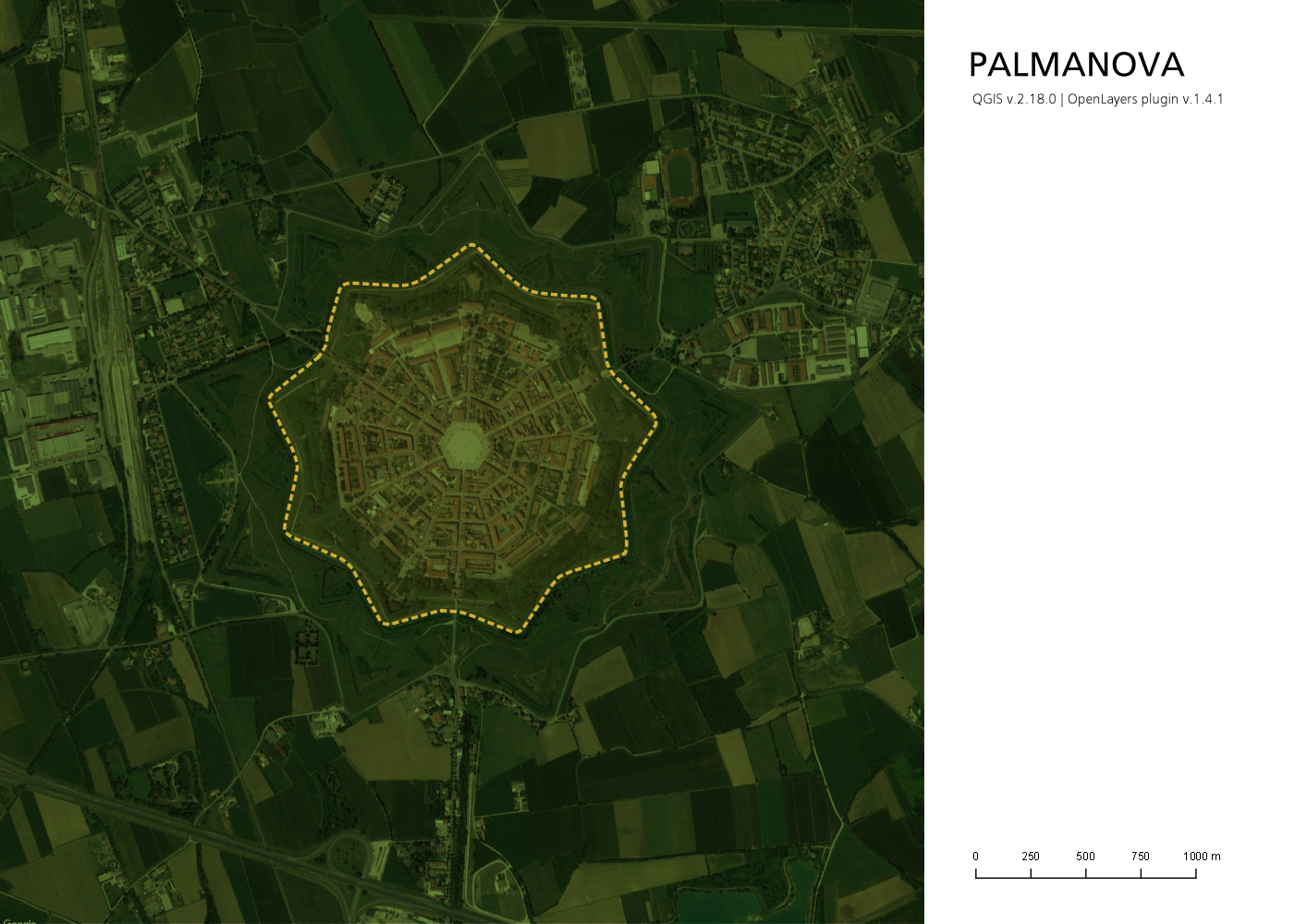 Planimetria di Palmanova in QGis senza errori con l'ortofoto al vivo