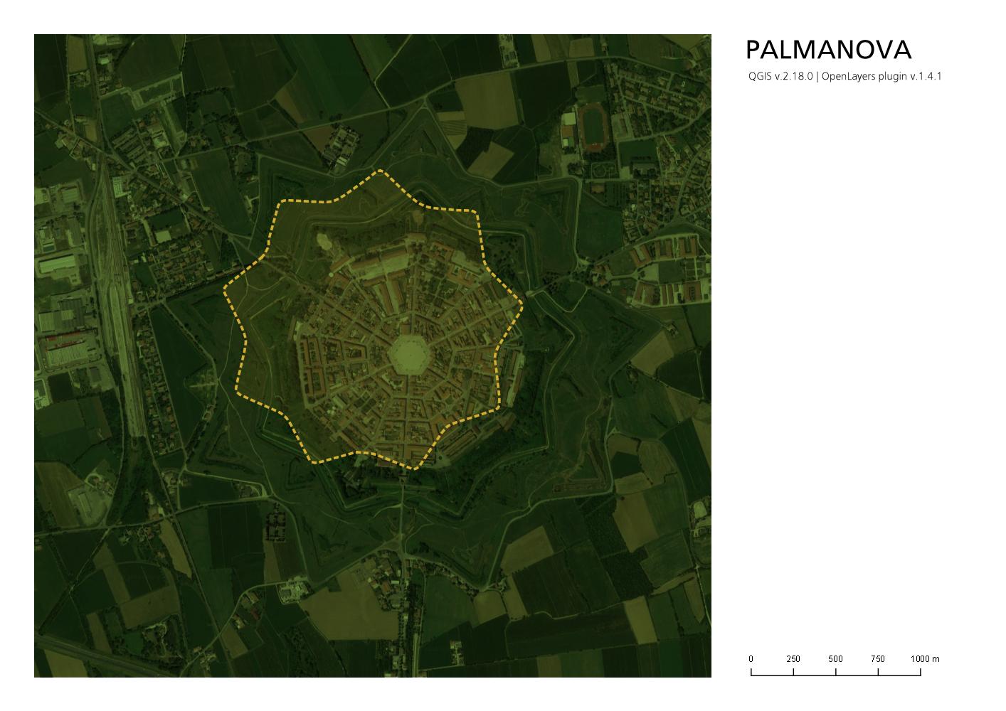 Planimetria di Palmanova in QGis con il problema dello sfalsamento