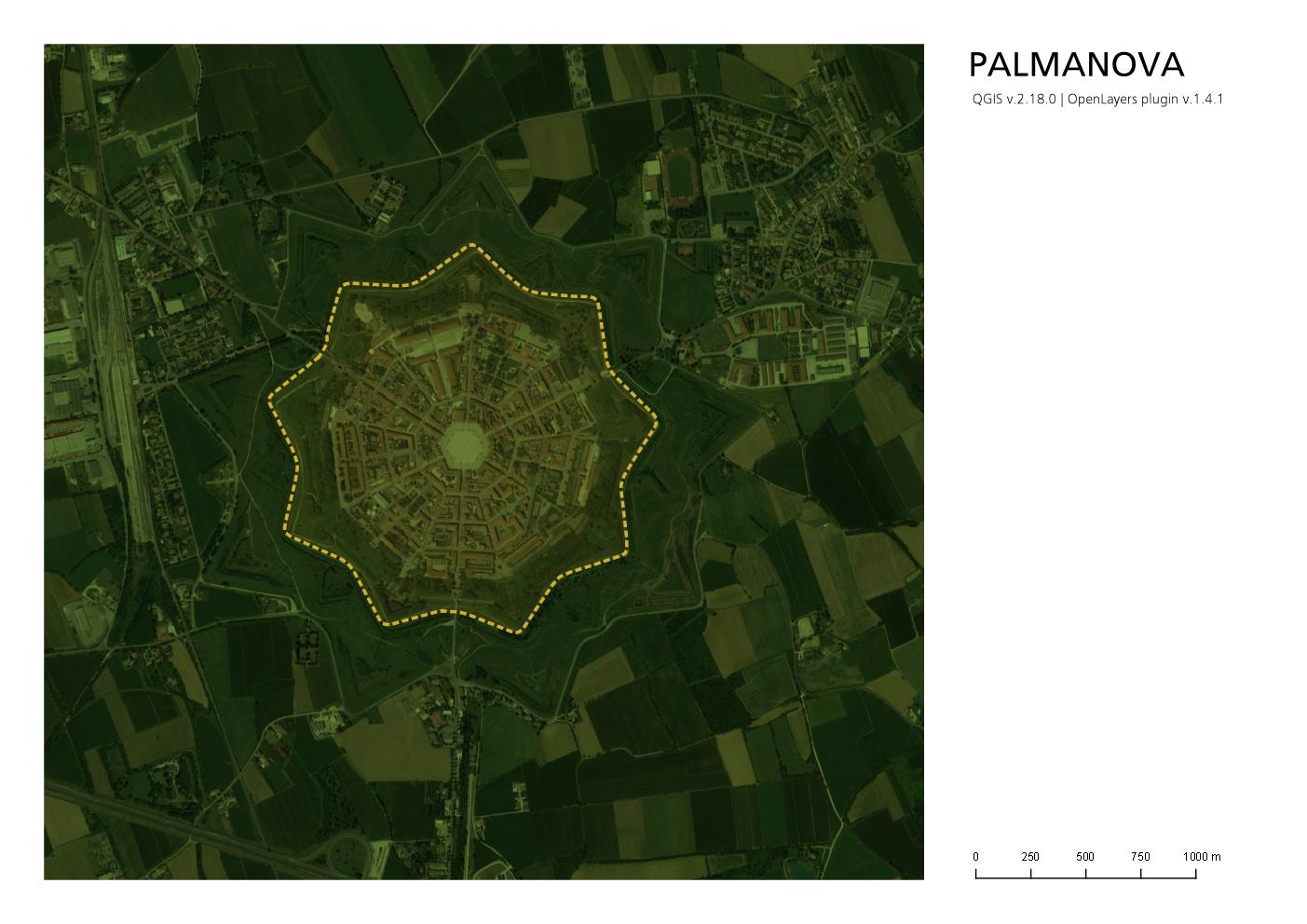 Planimetria di Palmanova in QGis corretta con i margini bianchi