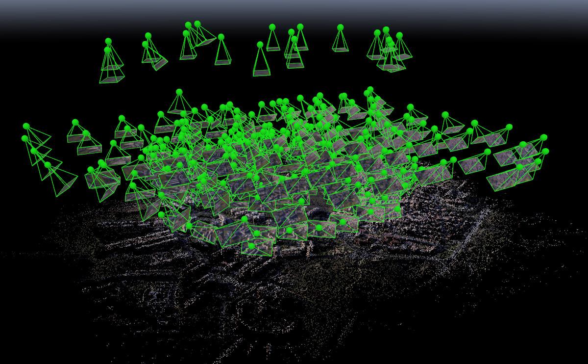 Camere e punti generati in Pix4D