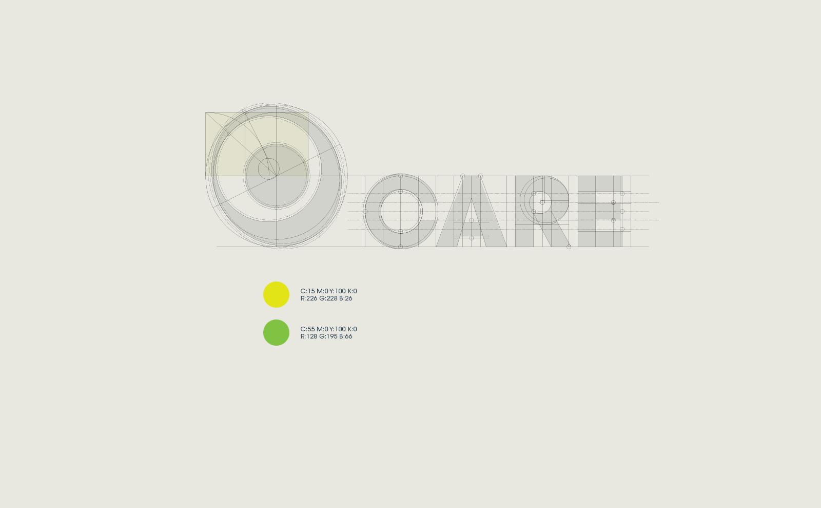 La costruzione del logo Care e i colori base